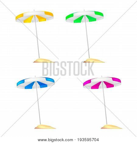 A set of colored beach umbrellas stuck in a small mound of Golden sand. Realistic colored umbrellas with reflections and shadows isolated on white background. 3D illustration