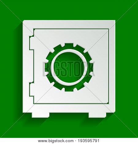 Safe sign illustration, crib, vault, lock box. Vector. Paper whitish icon with soft shadow on green background.