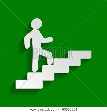 Man on Stairs going up. Vector. Paper whitish icon with soft shadow on green background.