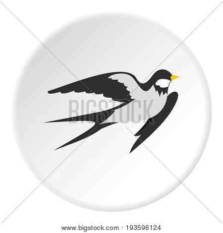 Swallow icon in flat circle isolated vector illustration for web
