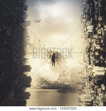 Back view of tiny businessman hanging on rope on abstract sideways city background. Business challenge concept