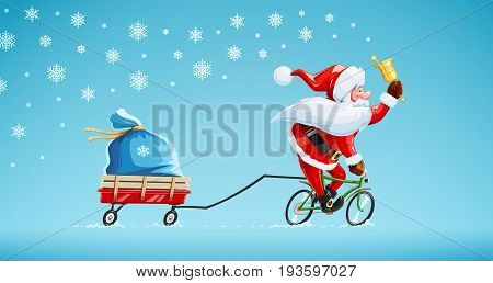 Santa claus with bell at bicycle. Christmas cartoon character. Old-man drive cycle to new year celebration. Winter holiday. Gift sack on cart. Background snow. Vector illustration.