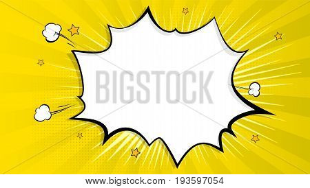Pop art splash background, explosion in comics book style, blank layout template with halftone dots, clouds beams and isolated dots pattern on yellow backdrop. Vector template for ad, covers, posters.