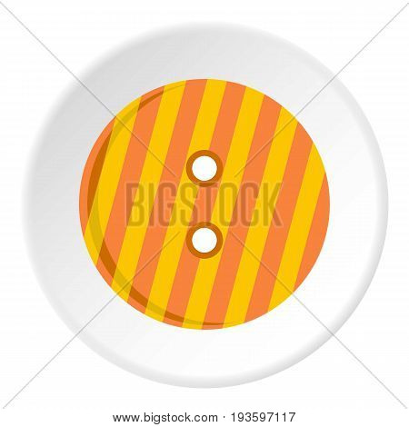 Striped orange and yellow clothing button icon in flat circle isolated vector illustration for web