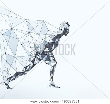 Side view of running polygonal hero with cape on light background. 3D Rendering