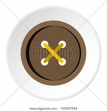 Brown clothing button icon in flat circle isolated vector illustration for web