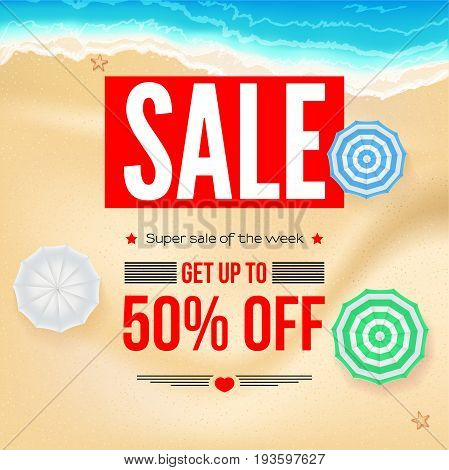 Selling ad banner, vintage text design. Fifty percent summer vacation discounts, sale background of the sandy beach and the sea shore. Template for online shopping, advertising actions.