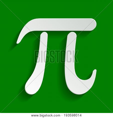 Pi greek letter sign. Vector. Paper whitish icon with soft shadow on green background.