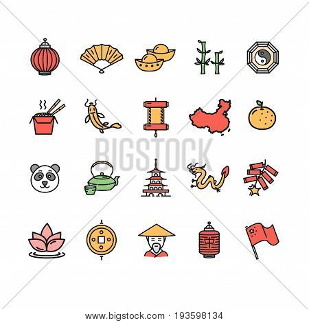 Symbol of China Color Thin Line Icon Set Traditional and National Culture Sign. Vector illustration