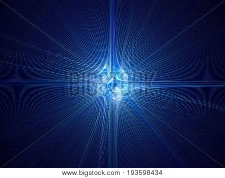Blue glowing quantum mechanics particle with wave attribution computer generated abstract fractal background 3D rendering