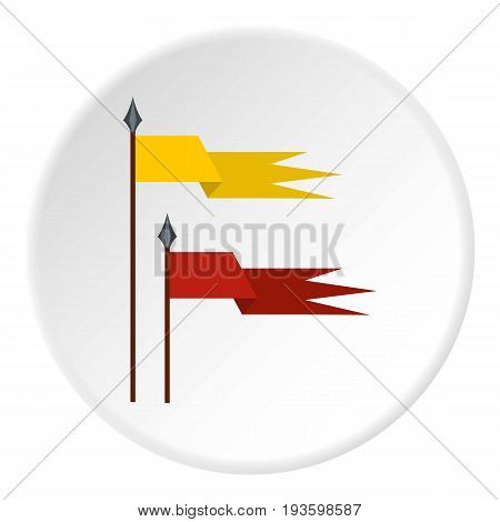 Gold and red medieval flags icon in flat circle isolated vector illustration for web