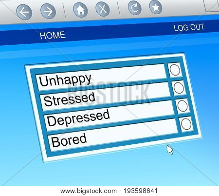 3d Illustration depicting a computer screen capture with a mental health options concept.