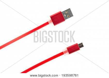 Two Red Connectors Of A Micro Usb Cable On A White Isolated Background. Horizontal Frame