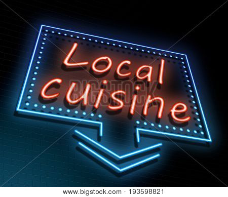 3d Illustration depicting an illuminated neon sign with a local cuisine concept.