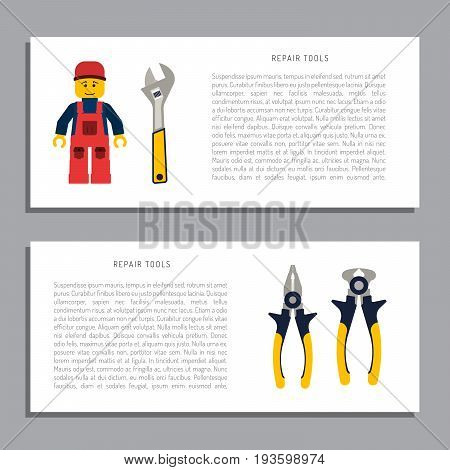 Do it yourself, construction repair tools flat icon set. Tools like hammer, axe, ruler, hatchet home repair. Isolated tools flat set.  Home renovation and construction concept with DIY tools.