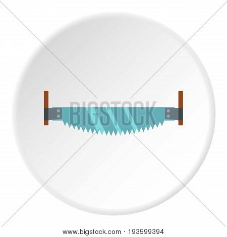 Two-man saw icon in flat circle isolated vector illustration for web