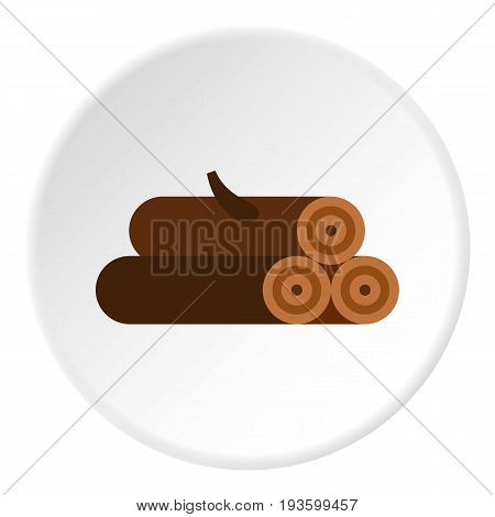 Logs of trees icon in flat circle isolated vector illustration for web