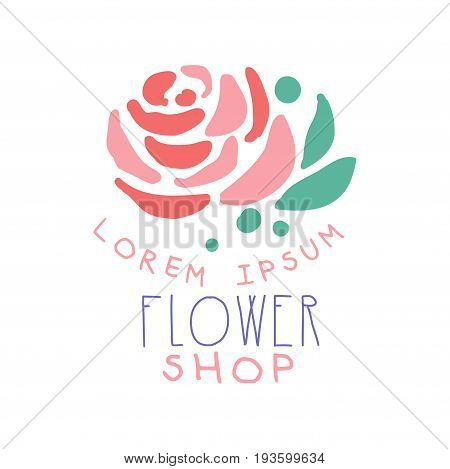 Flower shop logo template with rose flower hand drawn vector Illustration in pink colors, badge  for company identity