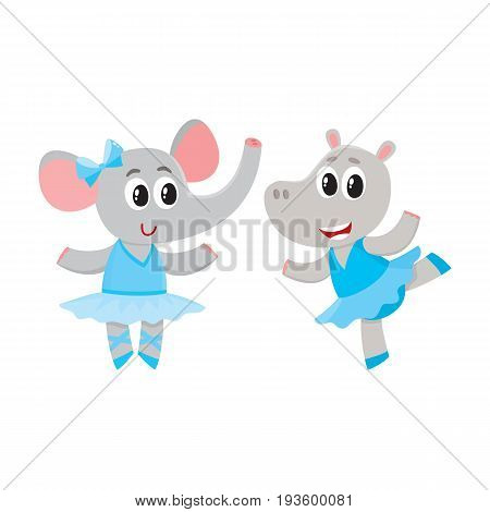 Cute little hippo and giraffe puppy and kitten characters dancing ballet together, cartoon vector illustration isolated on white background. Little giraffe and hippo ballet dancers, ballerinas