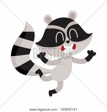 Cute little raccoon character jumping from happiness and delight, cartoon vector illustration isolated on white background. Happy and excited little raccoon jumping with pleasure and delight