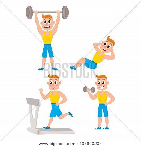 Young man doing sport exercises, training, weightlifting, doing sit-ups, running on treadmill, cartoon vector illustration isolated on white background. Cartoon man, guy doing fitness exercises in gym