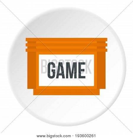 Games floppy disk icon in flat circle isolated vector illustration for web
