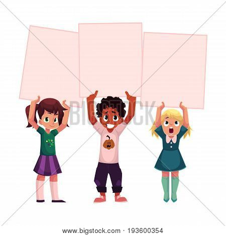 Three kids, black and Caucasian, holding blank empty posters over head, cartoon vector illustration isolated on white background. Three little kids, children holding empty, blank posters, boards