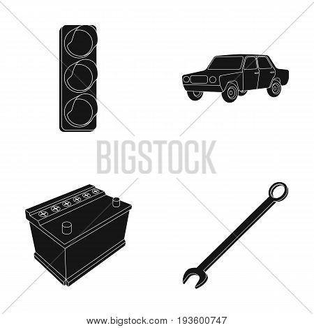 Traffic light, old car, battery, wrench, Car set collection icons in black style vector symbol stock illustration .