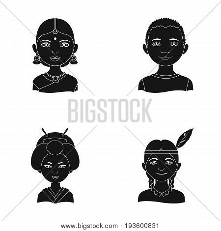Indian woman, african, japanese, indian. Human race set collection icons in black style vector symbol stock illustration .