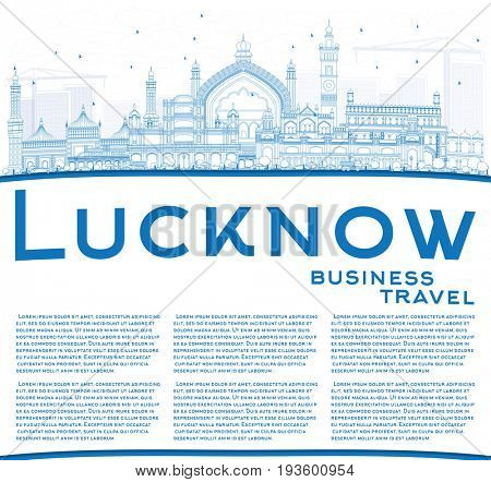 Outline Lucknow Skyline with Blue Buildings and Copy Space. Business Travel and Tourism Concept with Modern Architecture. Image for Presentation Banner Placard and Web Site.