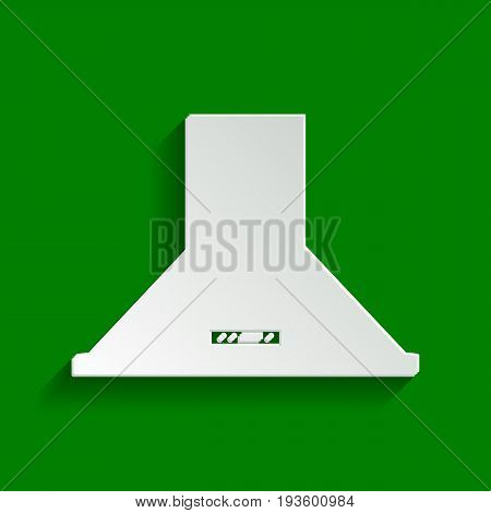 Exhaust hood. Kitchen ventilation sign. Vector. Paper whitish icon with soft shadow on green background.