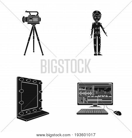 A movie camera, a suit for special effects and other equipment. Making movies set collection icons in black style vector symbol stock illustration .