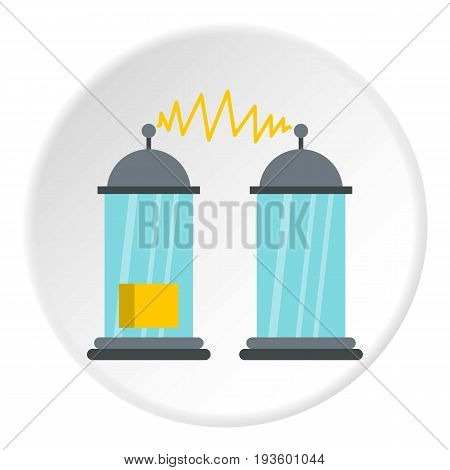 Electrical impulses icon in flat circle isolated vector illustration for web