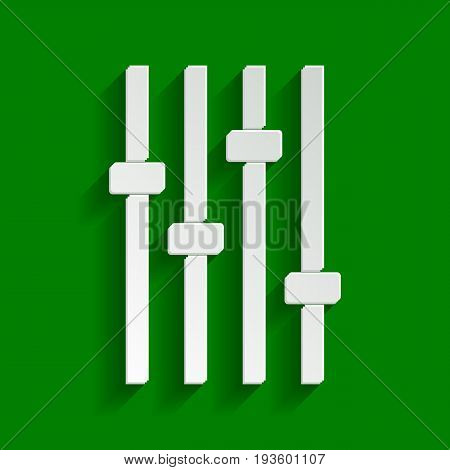 Adjustment music line sign. Vector. Paper whitish icon with soft shadow on green background.