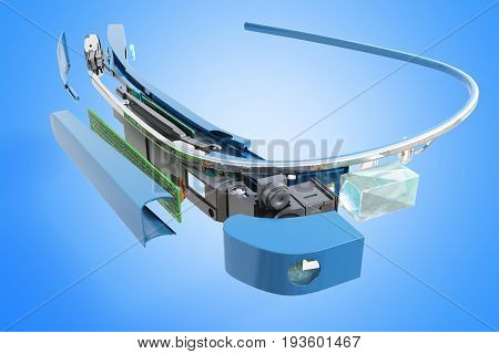 Interactive Glasses Disassemble In Parts 3D Render On Blue Background