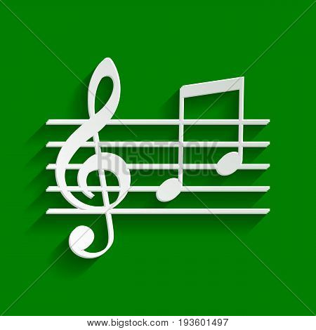 Music violin clef sign. G-clef and notes G, H. Vector. Paper whitish icon with soft shadow on green background.