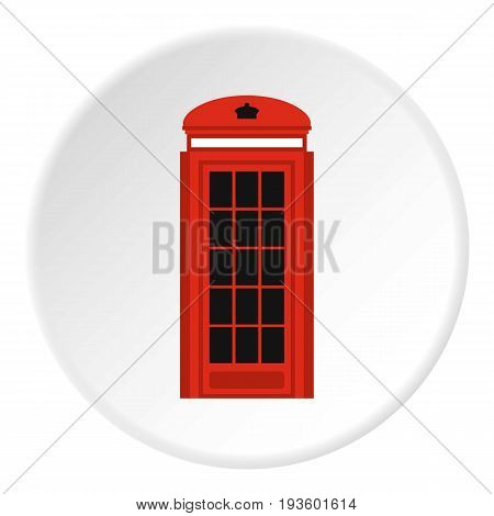 Phone booth icon in flat circle isolated vector illustration for web