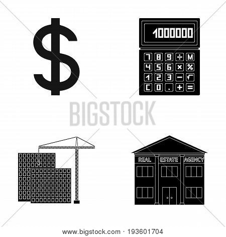 Calculator, dollar sign, new building, real estate offices. Realtor set collection icons in black style vector symbol stock illustration .