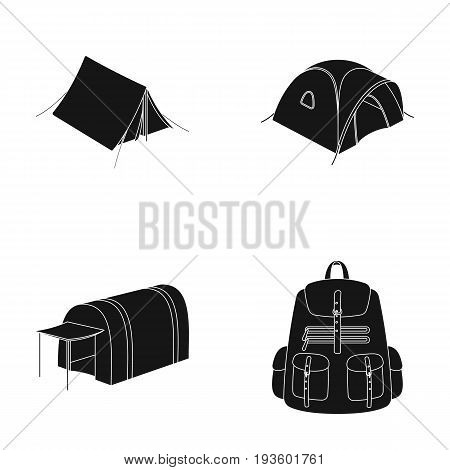 Backpack and other kinds of tents.Tent set collection icons in black style vector symbol stock illustration .