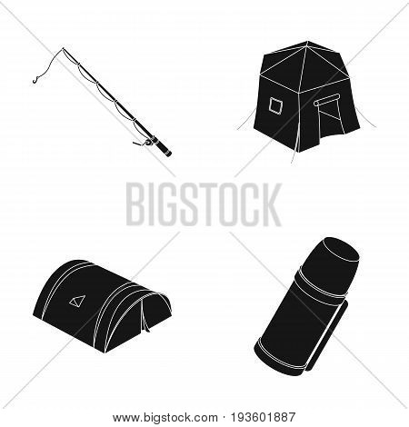 Spinning for fishing, tent, thermos.Tent set collection icons in black style vector symbol stock illustration .