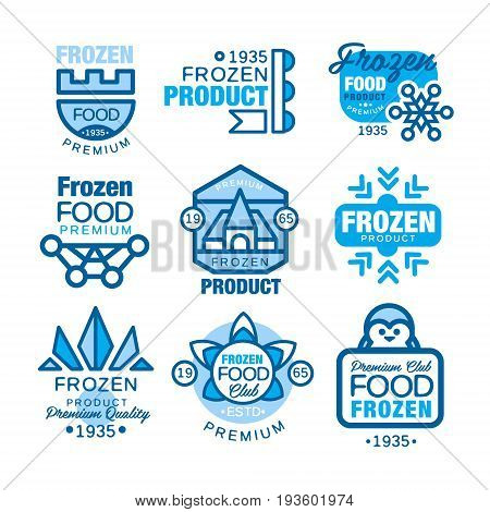 Frozen food product set of logo templates hand drawn vector Illustrations in blue colors isolated on a white background