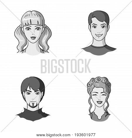 Different looks of young people.Avatar and face set collection icons in monochrome style vector symbol stock illustration .
