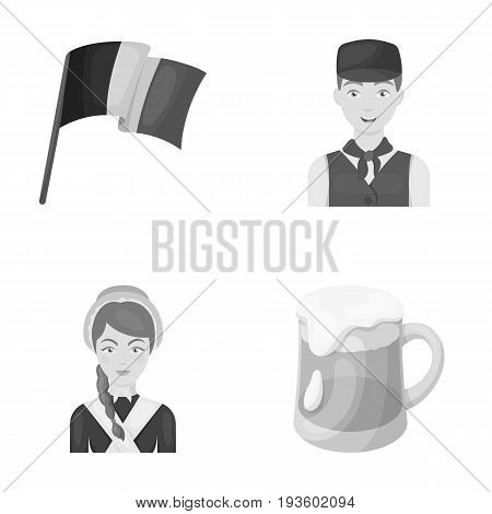 National flag, belgians and other symbols of the country.Belgium set collection icons in monochrome style vector symbol stock illustration .