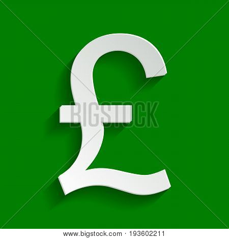Turkish lira sign. Vector. Paper whitish icon with soft shadow on green background.