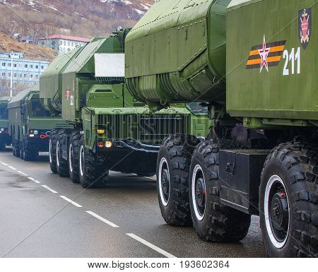 Kamchatka Russia - MAY 9: The parade dedicated to Victory Day in World War II District Military Band on May 9 2017 Petropavlovsk-Kamchatsky Russia. The 9K720 Iskander (NATO reporting name SS-26 Stone) is a mobile short-range ballistic missile system