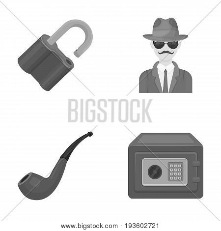 Lock hacked, safe, smoking pipe, private detective.Detective set collection icons in monocrome style vector symbol stock illustration .