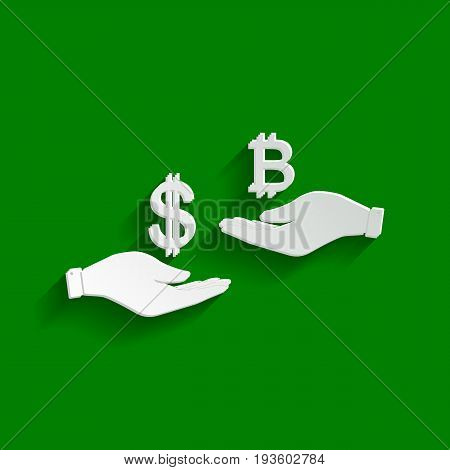 Currency exchange from hand to hand. Dollar and Bitcoin. Vector. Paper whitish icon with soft shadow on green background.