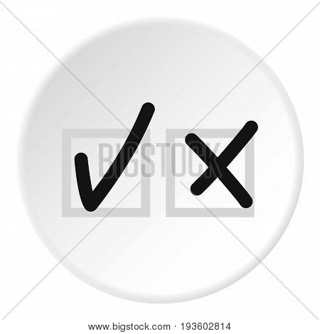 Checkmark to accept and refusal icon in flat circle isolated vector illustration for web