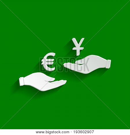 Currency exchange from hand to hand. Euro and Yuan. Vector. Paper whitish icon with soft shadow on green background.