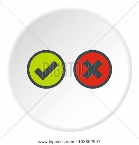 Tick and cross selection icon in flat circle isolated vector illustration for web